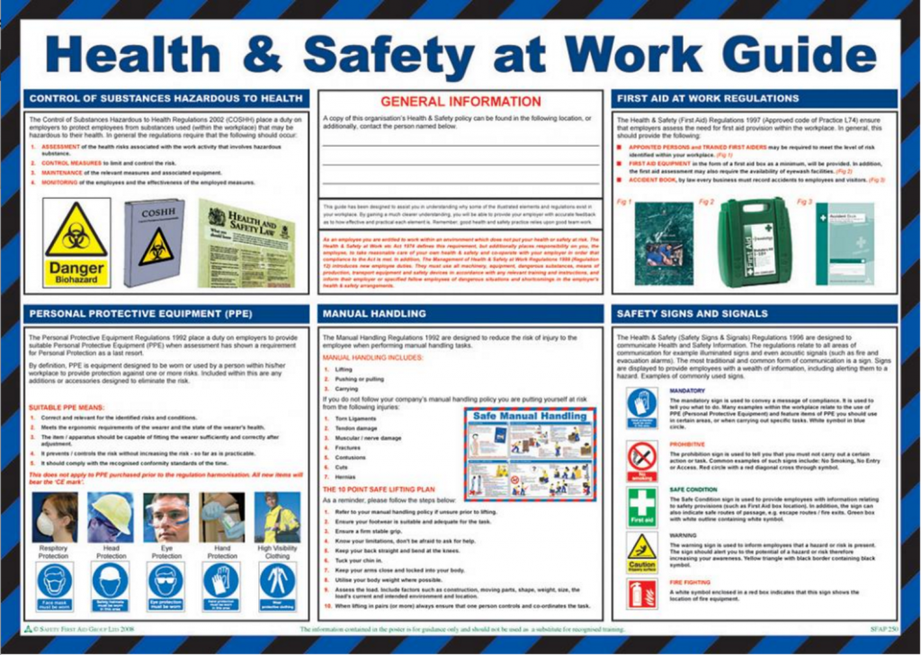 health and safety act 1974 The health and safety at work act 1974 is a law that applies to workplaces of many different types including schools, leisure centres and sports facilities of various types - as well as offices, factories, research environments and other types of work places.